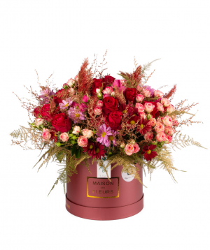 Կոմպոզիցիա «Լենսինգ» վարդերով, չորածաղիկներով և քրիզանթեմներվ