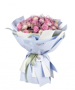 Bouquet `Albany` of roses and peony roses