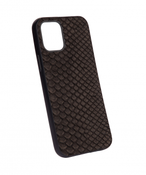 """Case """"Monarch"""" for phone, silicon, with a combination of genuine phyton leather №6"""
