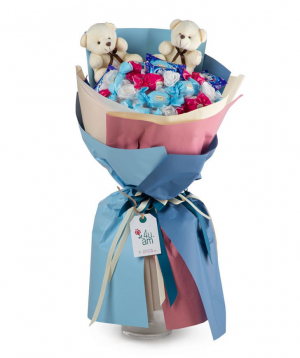 Sweet bouquet `Costa-Rica` with  soft toys