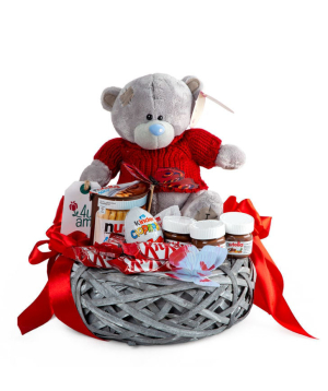 Composition `Bolzano` with a soft toy and chocolates