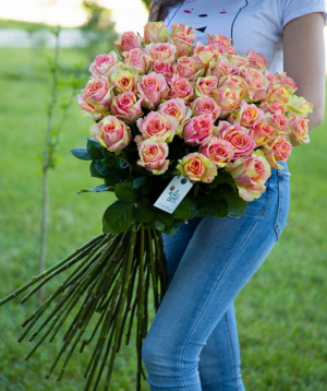 Վարդեր «Fiesta» վարդագույն 51 հատ