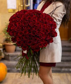 Վարդեր «Բլեք Մեջիք» կարմիր 101 հատ