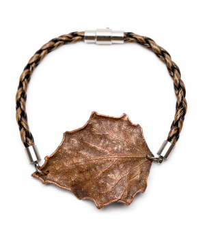 """Bracelet """"CopperRight"""" made from real poplar leaf"""