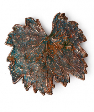 """Brooch """"CopperRight"""" made from real grapevine leaf"""