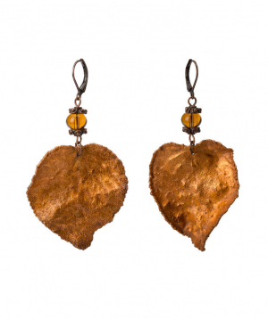 """Earrings """"CopperRight"""" made from real apricot leaf"""