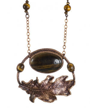 """Pendant """"CopperRight"""" made from a natural oak leaf №2"""