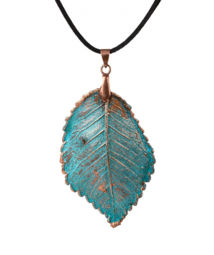 """Pendant """"CopperRight"""" made from real elm leaf"""