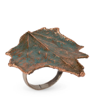 """Ring """"CopperRight"""" made from a real poplar leaf"""