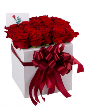 Composition `Hesse` with red roses 25 pcs