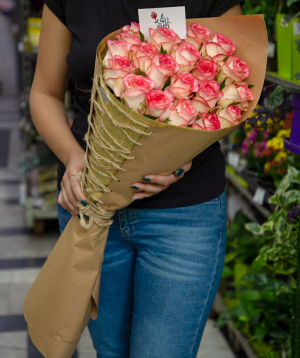 """Bouquet  """"Gap"""" with pink roses 21 pcs"""
