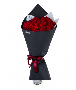 "Bouquet ""Douglas"" with red roses 25 pcs"