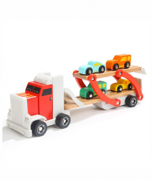 Toy trailer with wooden cars