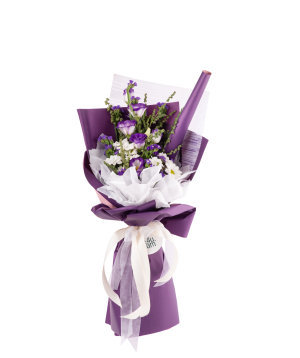 Bouquet `Exeter` with chrysanthemums, lisianthus, wildflowers