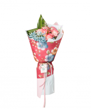 Bouquet `Marion` with roses and gypsophilas
