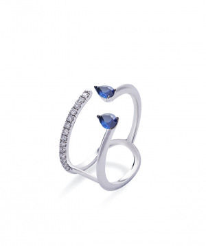 """Ring """"Lazoor"""" golden, with diamonds and sapphires №22"""