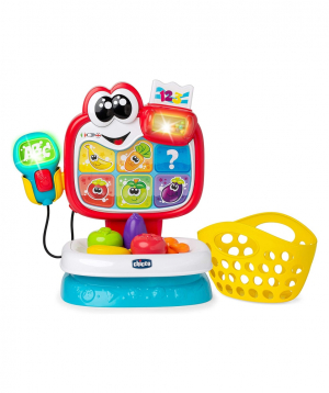 """Toy """"Chicco"""" cash register with groceries"""