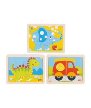 Խաղալիք «Goki Toys» փազլ դինոզավր, հրշեջ բրիգադ, փիղ
