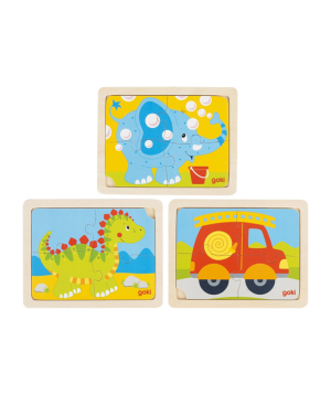 Toy `Goki Toys` puzzle dinosaur, fire brigade, elephant