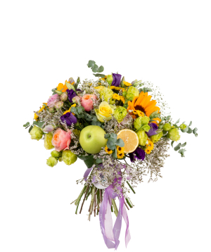 Bouquet `Mrgaton` of with flowers and fruits
