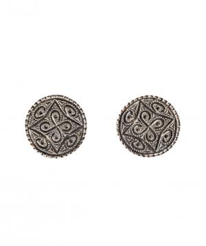 """Earrings """"DF Project""""pattern silver №1"""
