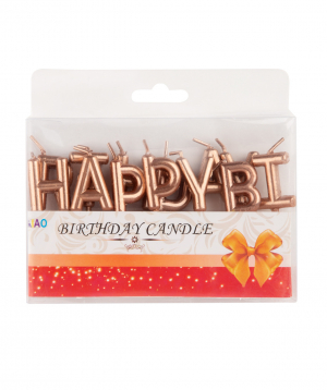 Candle `Happy Birthday`  multicolored