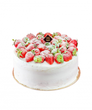 Cake `Moms Little Bakery` with strawberries
