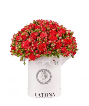 Կոմպոզիցիա «Կալիպսո» փնջային վարդերով, մեծ