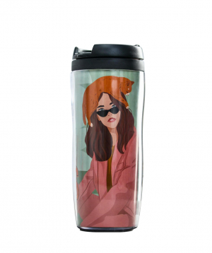 Coffee `Jpit.am` in a thermo glass, Girl boss