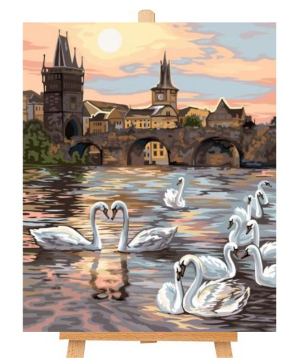 Canvas numbered `Danko Toys` Swans