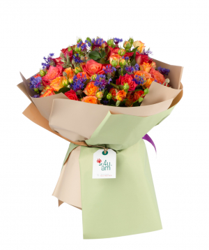 Bouquet `Wiltz` with roses and wildflowers