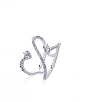 "Ring ""Lazoor"" golden, with diamond stones №14"