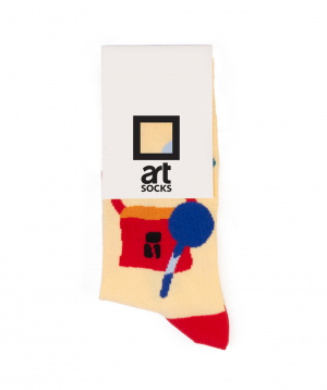 "Socks  ""Art socks"" with ""Silence"" painting yellow"