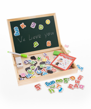 Blackboard with magnetic letters