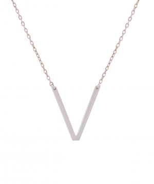 Necklace `Silverist` letter V