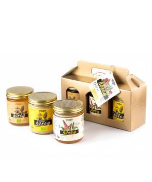 Հավաքածու «Pamp Honey» մեղրների, ստվարաթղթե պայուսակով