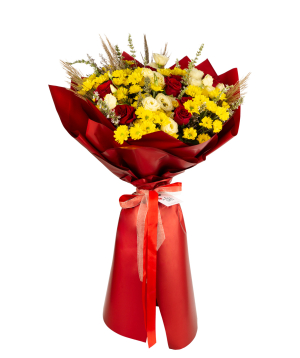 Bouquet `Red Alba` with roses, chrysanthemums, lisianthus