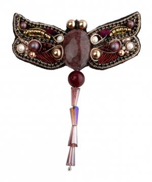 """Brooch """"LilmArt"""" handmade Swarovski pearls"""