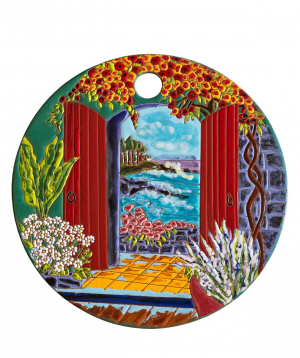 "Cheese plate ""ManeTiles"" decorative, ceramic №38"