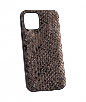 """Case """"Monarch"""" for phone, silicon, with a combination of genuine phyton leather №7"""