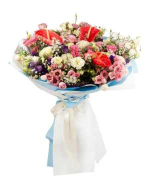 Bouquet `Floral Variety` with roses, anthuriums, lisianthus