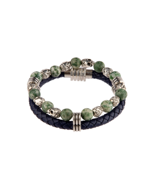 """Bracelet """"Ssangel Jewelry"""" men`s №7 leather, with natural stones"""