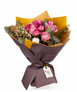 """Bouquet """"Ruche"""" with roses, tulips and gypsophilas"""