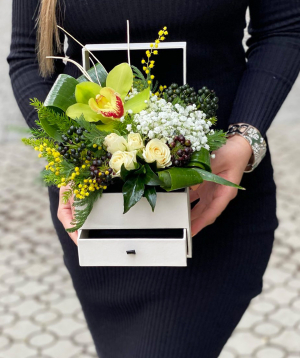 Composition `Likas` with  roses and orchids