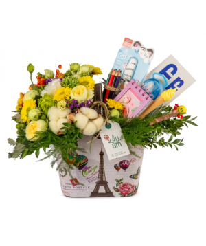 Composition `Portland` with flowers and stationery