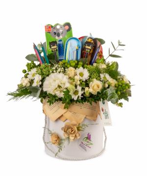 Կոմպոզիցիա «Դետրոյթ» ծաղիկներով և գրենական պիտույքներով