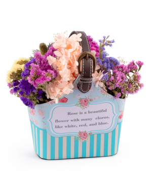 Composition `EM Flowers` with eternal hydrangeas and limoniums