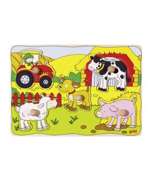 Toy `Goki Toys` puzzle on the farm
