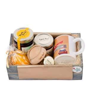 Gift box `Basic Store` with a cup, jam and honey