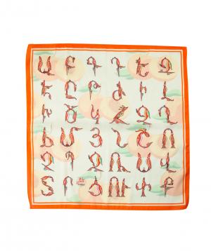 Scarf `Masoor` armenian letter peach